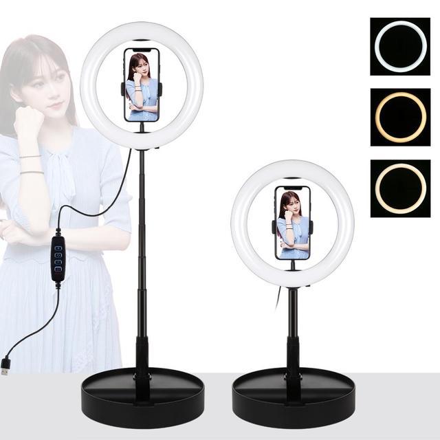 LANBEIKA 10 Inch 26cm USB 3 Mode LED Selfie Ring light Photography Vlogging Video Light Foldable Stand Tripod & Desktop Holder