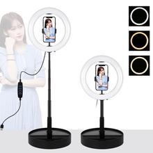 LANBEIKA 10 inç 26cm USB 3 modu LED Selfie halka ışık fotoğraf vlog Video ışığı katlanabilir standı Tripod ve masaüstü tutucu