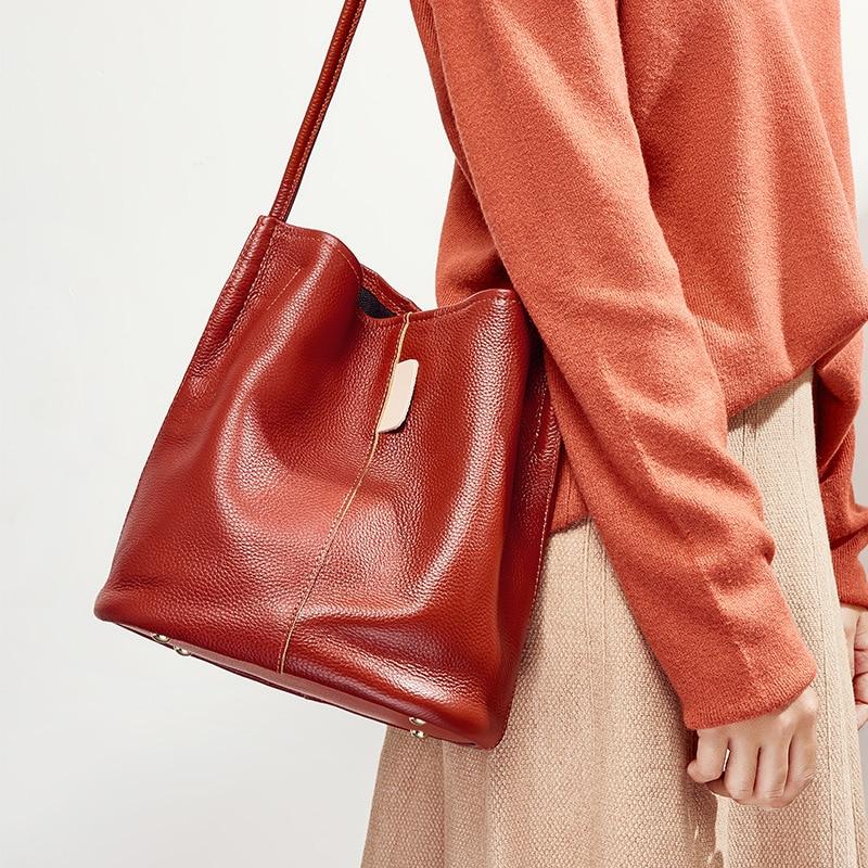 2019 Women Soft Leather Bucket Bags Women's Genuine Leather Handbags Fashion Shoulder Bags Designer Messenger Bags Black