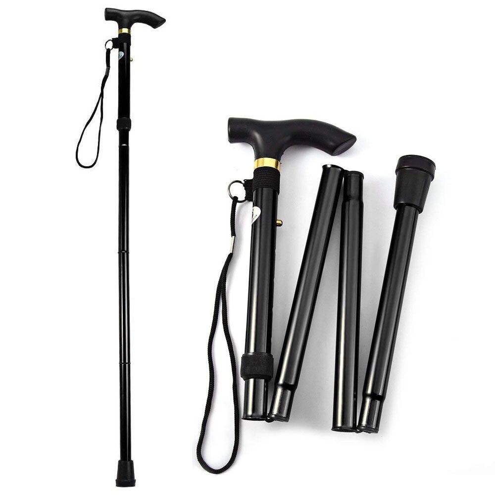 T-handle Walking Stick Telescopic Baton Hiking Trekking Poles Aluminum Alloy Metal Folding Cane Elderly People Crutches Pole