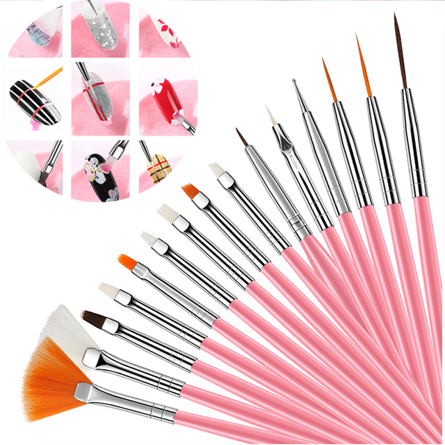 15pcs/set Plastic Handle Pull Hook Line Pen Manicure Brush Nail Artists Set Short Miniature Detail Soft Acrylic Oil Art Escolar