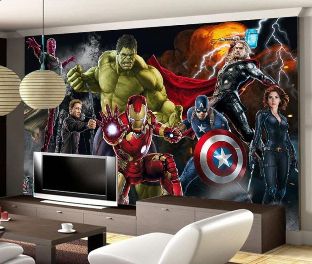 Custom Mural Wallpaper 3D Spiderman Marvel Avengers Wall Wallpaper Wallpaper Captain America Background Wall Painting