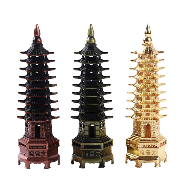 New Feng Shui Zinc Alloy 3D Model China Wenchang Pagoda Tower Crafts Statue Souvenir Home Decoration Metal Handicraft 2