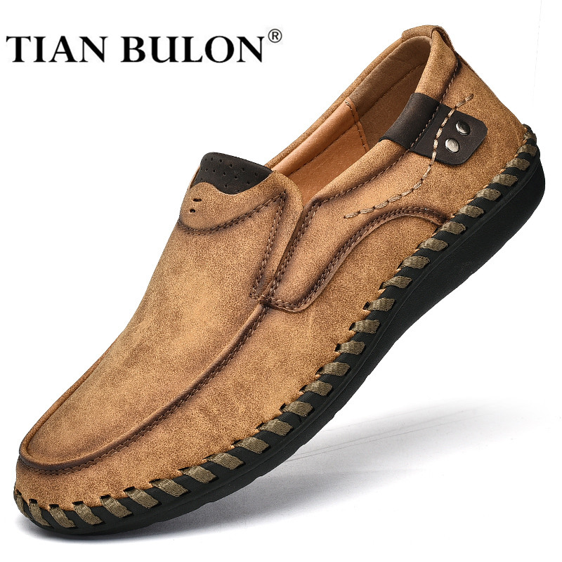 Handmade Leather Men Shoes Luxury Brand Italian Casual Mens Loafers Breathable Driving Shoes Slip On Moccasins Plus Size 38-48