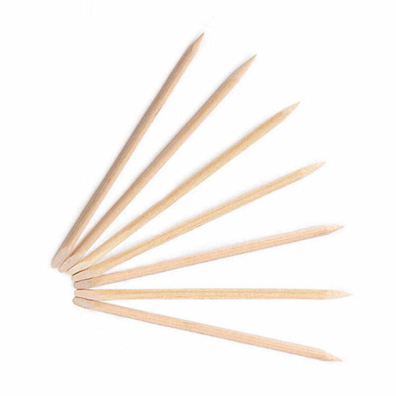 11.5 centímetros 10 pçs/set Projeto Da Arte Do Prego Ferramentas de Madeira Varas Cuticle Remover Pusher Unhas Angular Dupla Face Vara Laranja