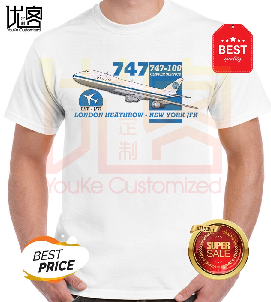 Pan Am Boeing 747 Heathrow New York Design T-Shirt Retro Flight