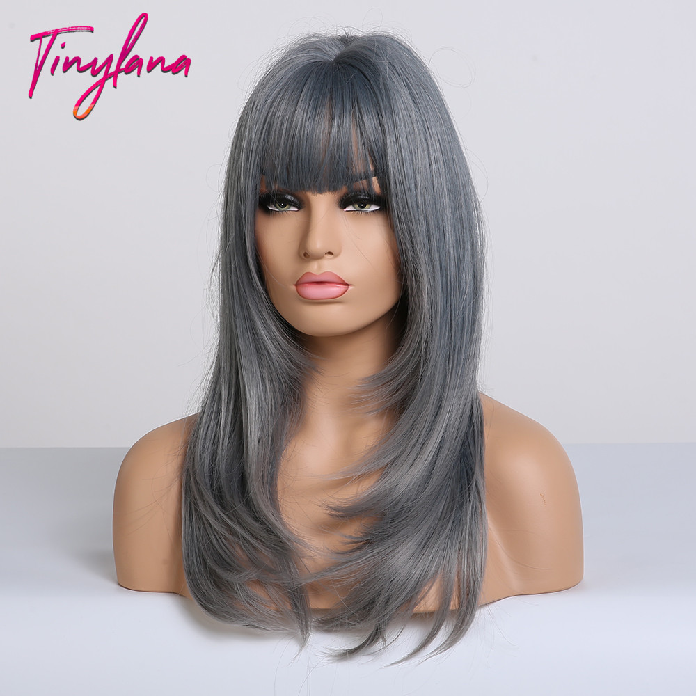 Image 3 - TINY LANA Ash Blue Long straight Hair with Bangs Synthetic Wig for Women Lolita&Cosplay High Temperature Fiber Layered Wigs afroSynthetic None-Lace  Wigs   -