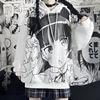Japanese Anime Hoodie Autumn Clothes Women Sweatshirt Fashion Print Long Sleeve Tops Loose Warm Velvet Plus Size Women Pullover 3