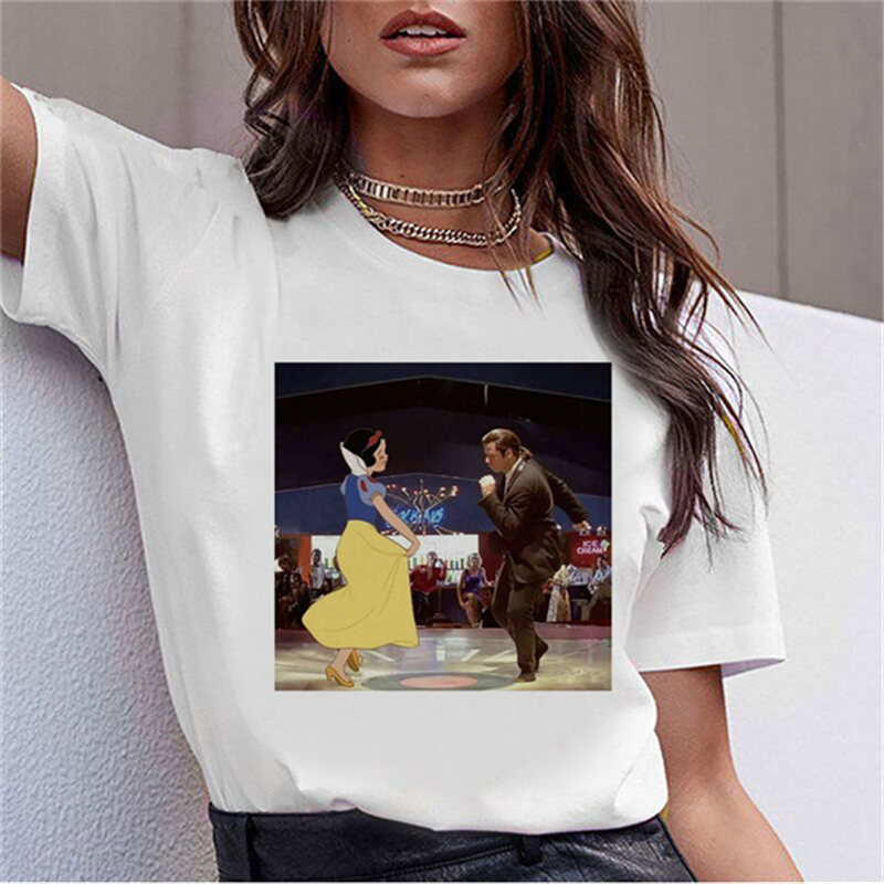 LUSLOS T Shirt Women White Short Sleeve Vogue Dancing Snow White Princess Cartoon Print 90s Tumblr O-neck T-shirt Femme Tshirts