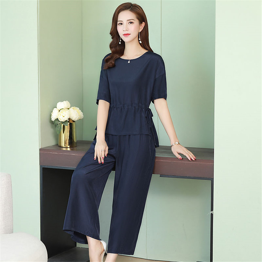 Summer Two Piece Set Women Suits 2020 Solid O-Neck  Tops And Wild Pant Casual Tracksuit 2 Piece Set