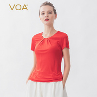 VOA solid color silk T shirt knitted round neck pleat short sleeve four side elastic bottomed silk short sleeve B5087