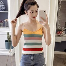 Fashion Women Rainbow Strip Camisole Sexy V-neck Sleeveless Knit Tops Ladies Casual Crop Tops Women Camis Vest debardeur femme(China)