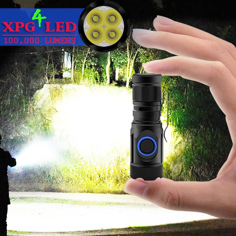 Highest Lumen Most Powerful Led Torch Mini Flashlight Usb Cree 4*XPG LED Tactical Waterproof Rechargeable 18350/18650 Battery