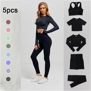 Mulheres sem costura conjunto de yoga treino ginásio manga longa aptidão colheita superior cintura alta leggings roupas esportivas ternos