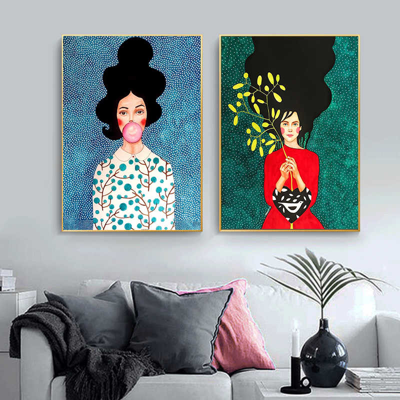 Vintage Abstract Girl Hair Flower Women Wall Art Canvas Painting Fashion Nordic Poster Wall Pictures For Living Room Unframed Painting Calligraphy Aliexpress