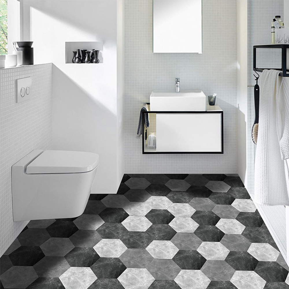 10 Uds Hexagonal antideslizante suelo calcomanía impermeable baño suelo pegatinas Auto adhesivo azulejos cocina Sala decoración papel tapiz