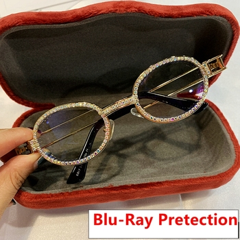 2019 Blu-Ray Pretection Retro okrągłe okulary przeciwsłoneczne damskie w stylu vintage steampunk okulary mężczyźni przezroczyste soczewki okulary przeciwsłoneczne z cyrkoniami óculos tanie i dobre opinie MONIQUE ORENDA Kobiety Owalne Dla dorosłych Stop Fotochromowe Antyrefleksyjną UV400 37mm Poliwęglan 81178 49mm clear black yellow pink silver red