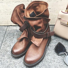 Original New Soft Sole Women Boots High Quality Leather Comfortable Flat Sole Handmade Retro Ankle Boots krazing pot new sheep genuine leather wedges leisure sole round buckle work boots streetwear high fashion women ankle boots l3f1