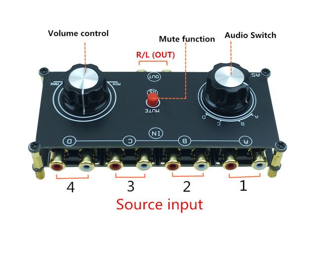 Passive preamp RCA Switch 4 IN 1 OUT Stereo Audio Signal Switcher Selector Splitter Box with volume control for amplifier amp