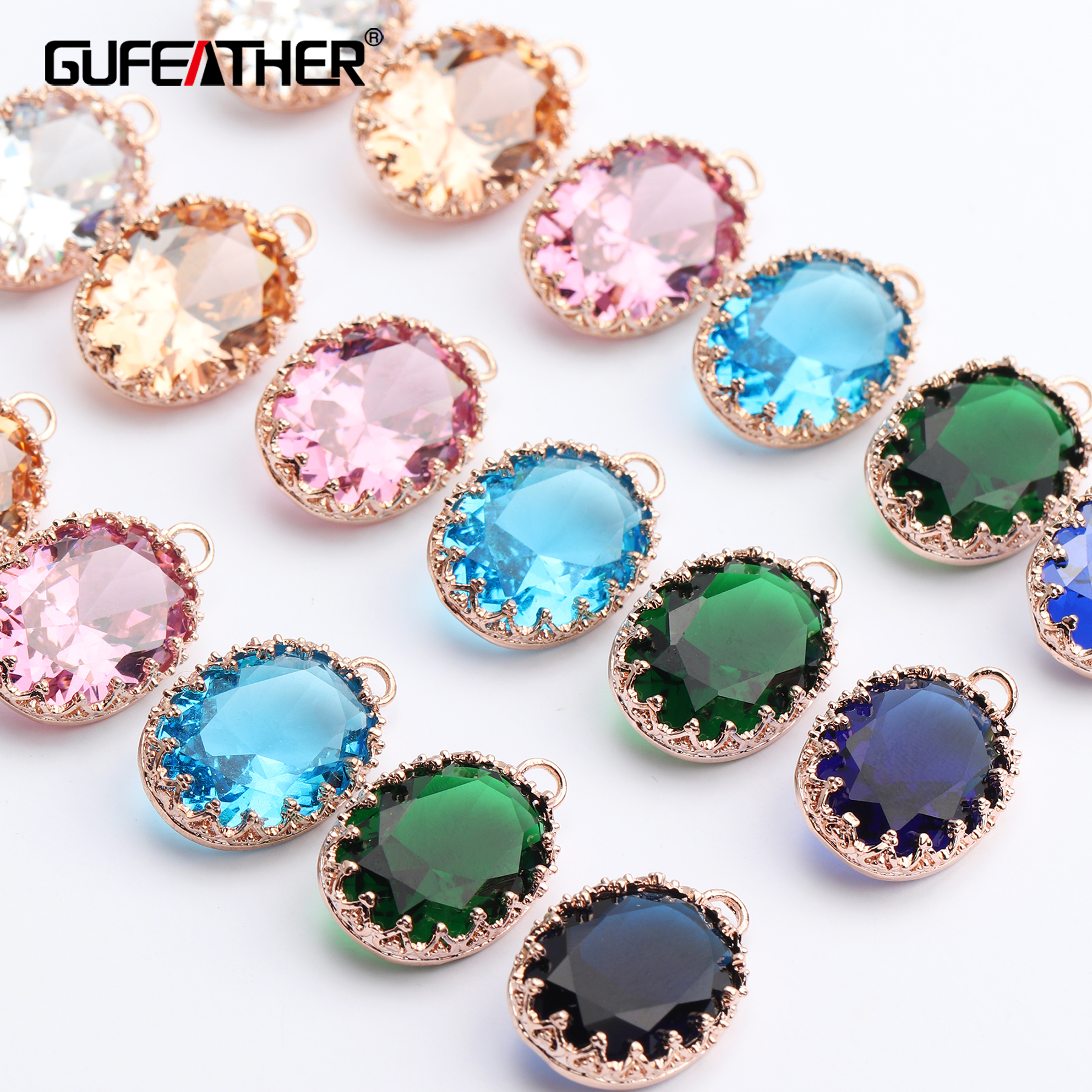 GUFEATHER M454,jewelry Accessories,jump Ring,diy Zircon Pendant,18k Gold Plated,hand Made,diy Earring,jewelry Making,6pcs/lot
