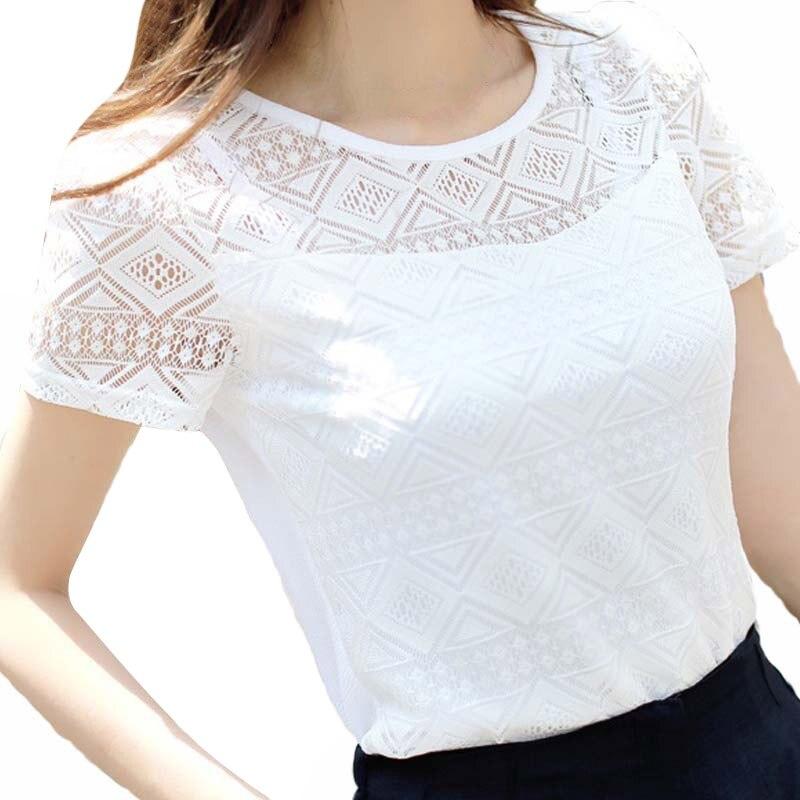 Summer Women White Elegant Lace Blouse Femme Chiffon Shirts Tops Short Sleeve Blusas Feminina Hollow Out Blouses NS