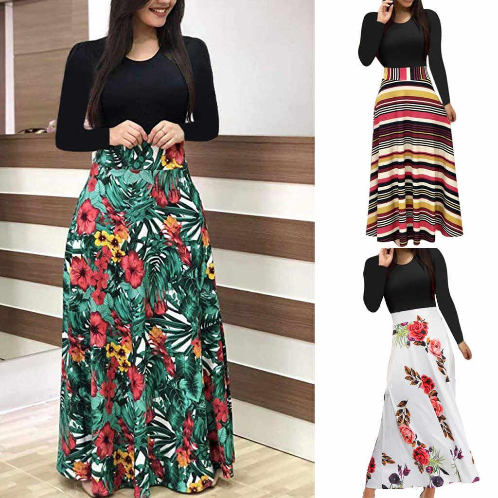 JAYCOSIN 5XL платье женское Макси платье с длинным рукавом цветочный принт длинное платье vestidos повседневное цветочный принт Boho платья дропшиппинг 8