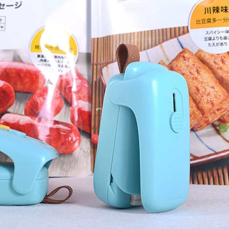 Mint Green Mini Portable Vacuum Sealer Sealing Packages Plastic Close Bags And Sachet Vacuum Food Clips For Home Kitchen Tool