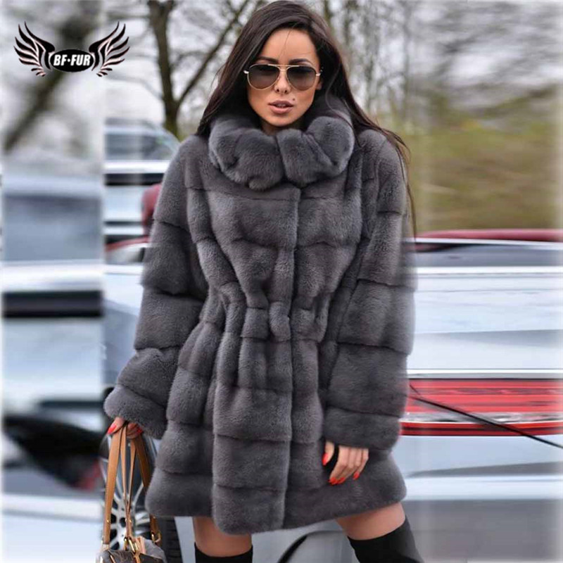 2019 Winter Fashion Real Mink Fur Coat With Big Lapel Collar Women Pelt Natural Genuine Mink Fur Jacket Long Fur Coats Plus Size