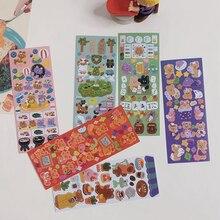 1Pcs Ins Cute Cartoon Comics Bear Series DIY Decoration Sticker Paper Creative Stationary Scrapbooking Diary Kawaii Stickers