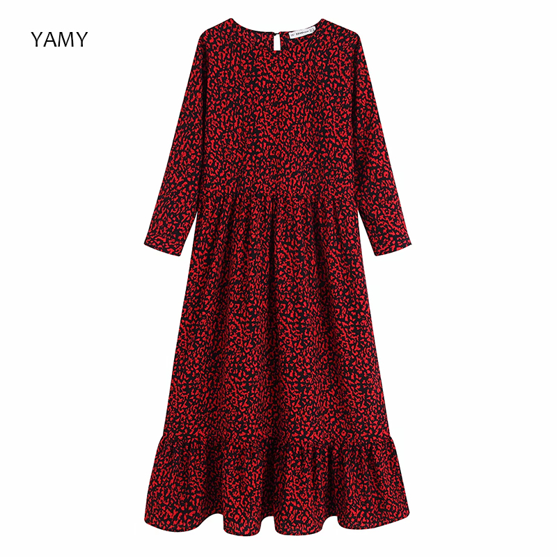 Summer 2019 Womens Leopard Print Maxi Dress Long Sleeve Pleated Straight Female Ruffles Dress Ankle Length Zora Vintage Vestidos