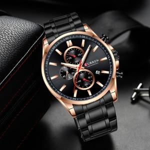 Image 5 - 2019 新CURRENトップブランドの高級メンズ腕時計自動日付時計男性スポーツ鋼腕時計メンズクォーツ腕時計レロジオ Masculino