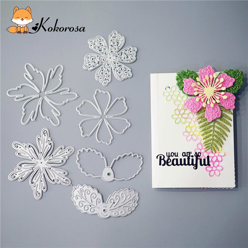 Kokorosa Cutting Dies Metal Dies Flower Set Die C New Scrapbooking Album Card Making Embossing Stencil Diecuts Decoration