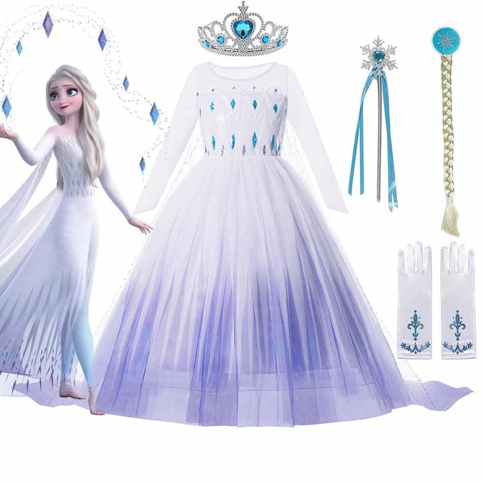 Disfraz de Disney Frozen 2 para niña, vestido de princesa Elsa, vestido de bola de malla de lentejuelas blancas, Reina de la nieve, Cosplay, ropa de Carnaval