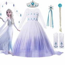 Disney Frozen 2 Costume for Girls Princess Elsa Dress White Sequined Mesh Ball Gown Kids Snow Queen Cosplay Carnival Clothing