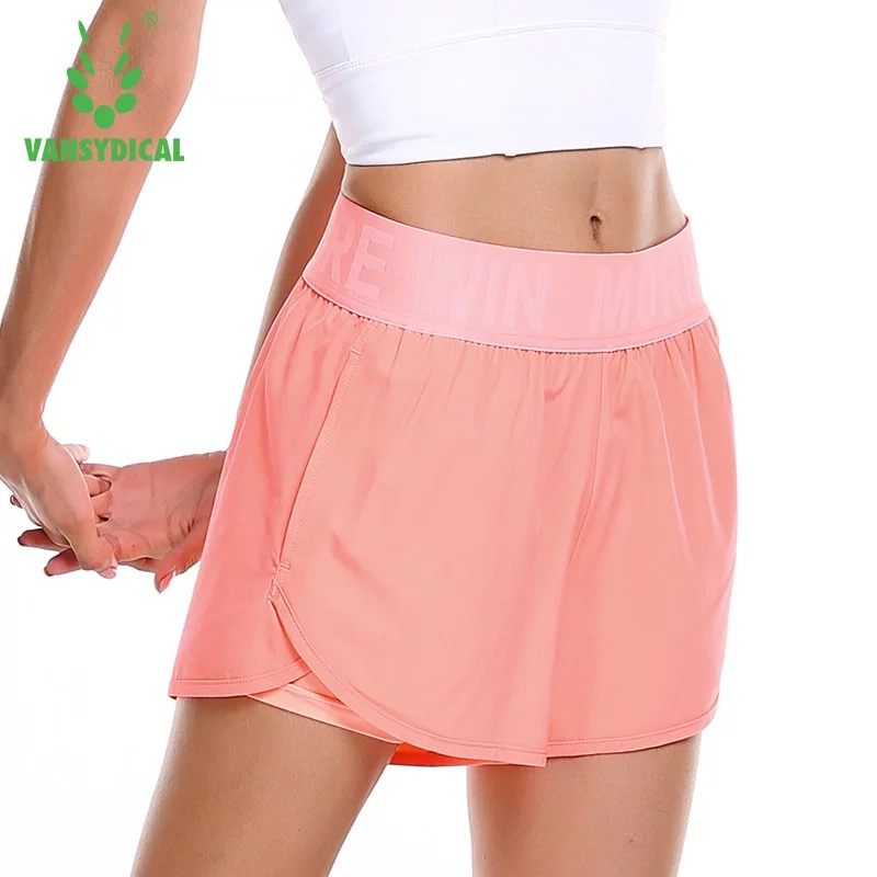 Vansydical Summer Women Sports Yoga Shorts Double Layer Quick Dry Fitness Clothing Gym Workout Training Running Shorts Plus Size