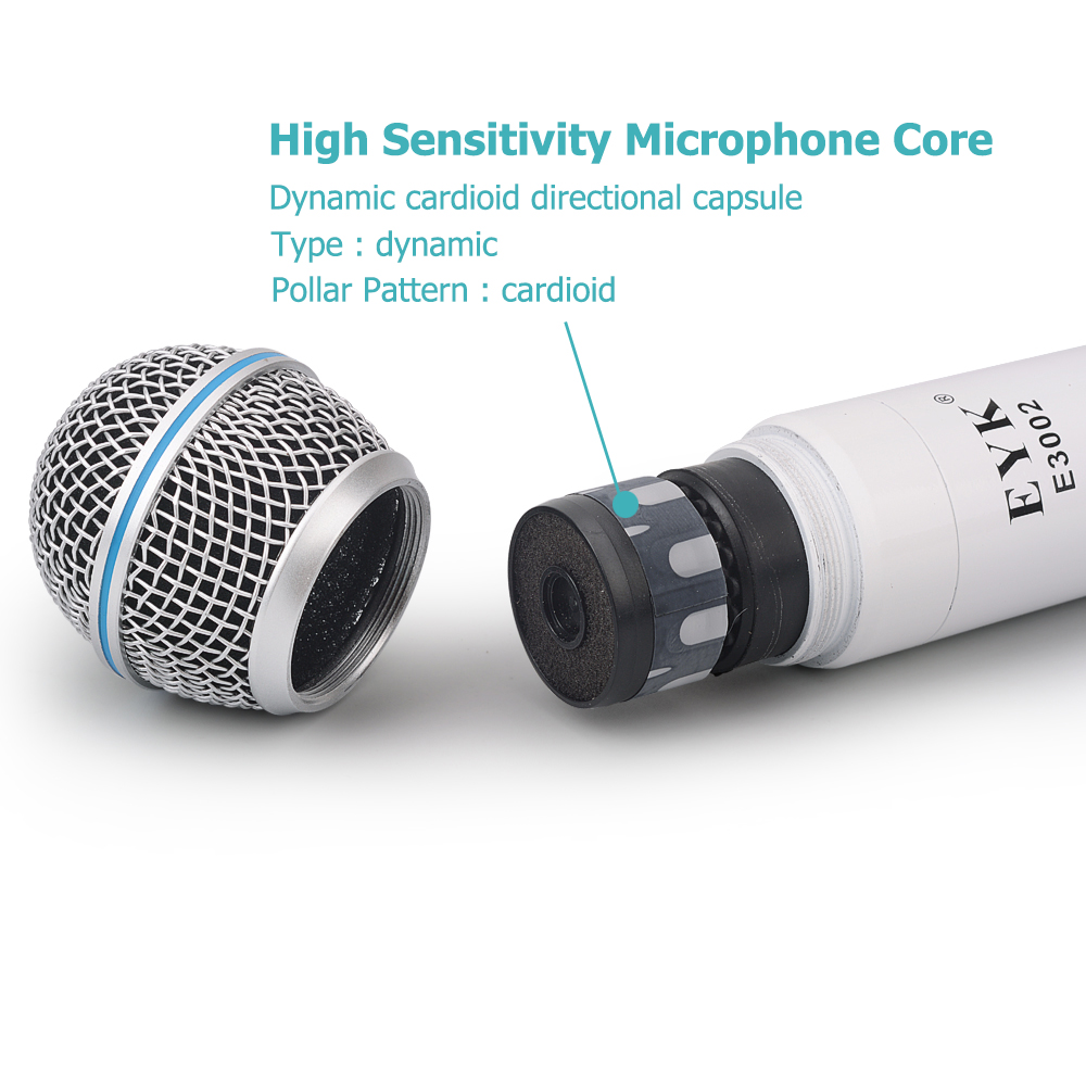 EYK E3002 professionnel système de Microphone sans fil karaoké UHF longue portée double émetteur de micro portable en métal avec fonction muet - 5
