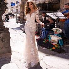 לורי 2019 נסיכת בת ים חתונת שמלה ארוך שרוולים Appliqued טול כפתורים חזרה Boho חתונה שמלת ארוך רכבת הכלה שמלה