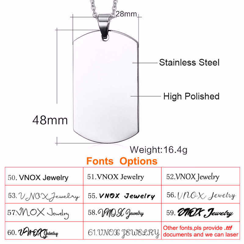 Vnox Personalized Image Photo Necklaces Full Colored Picture Solid Stainless Steel Dog Tag for Women Men Pendant Custom Gift