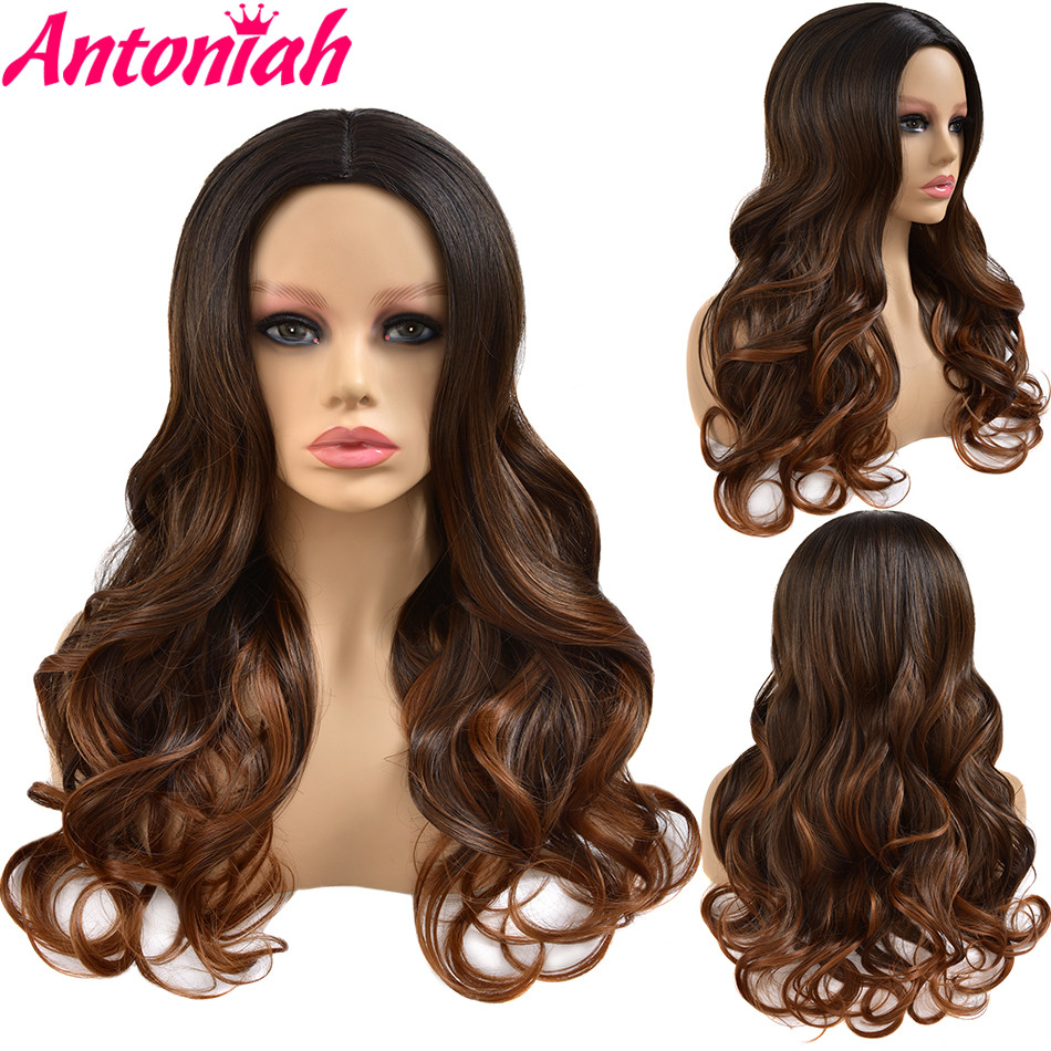 ANTONIAH Halloween Goddess Body Wave Wig Brown Free Part Natural Hairline Wig Synthetic Wig 2021Fashionhairstyle For Women