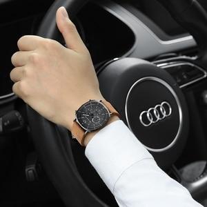 Image 3 - גברים עסקים ספורט שעונים שוויצרי קוורץ תנועה עמיד למים לוח Mens אופנה עור להקת נירוסטה שעון חדש ווכט