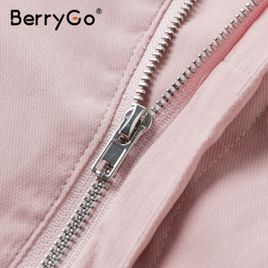 Image 5 - BerryGo Casual buttons two piece suits women set High waist pockets female short jumpsuit 2020 Summer style ladies sets outfit