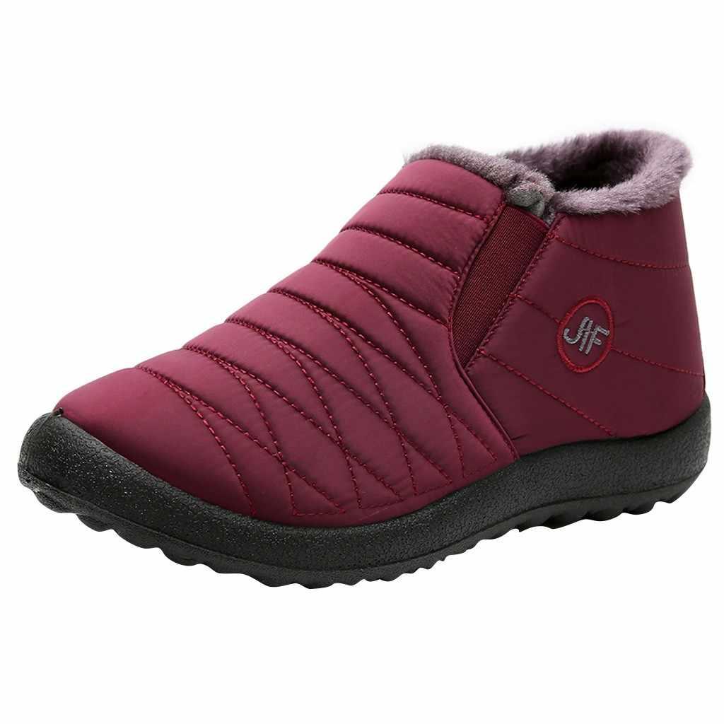 Frauen Freizeit Plus Samt stiefel für winter Warm halten Alten Peking Baumwolle Schuhe Plüsch Einlegesohle Schnee Flach Wasserdichte Flache Schuhe