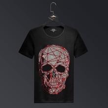 Tallas grandes 2019 Moda Cráneo Diamantes de imitación Camisetas