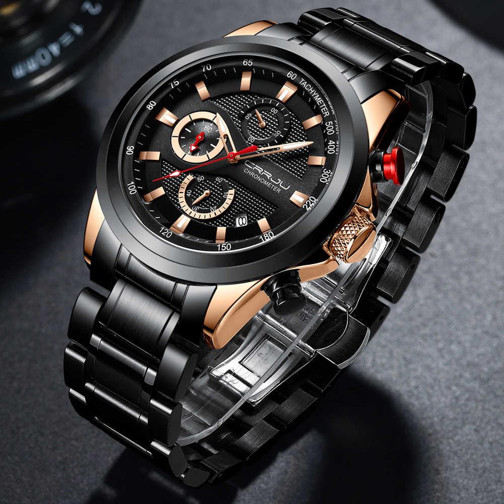 นาฬิกา CRRJU นาฬิกาสแตนเลส 2020 แบรนด์หรูใหม่ Luminous Chronograph วันที่นาฬิกาควอตซ์ Relogio Masculino
