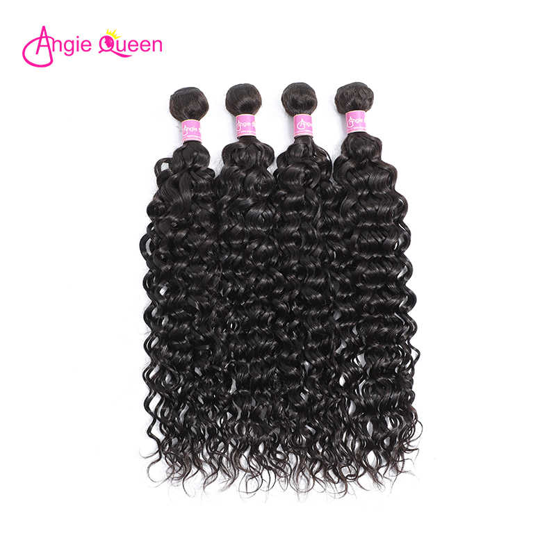 Angie Koningin Water Wave Indian Remy Haar Natuurlijke Kleur Weeft 100% Menselijk Haar Bundels Nonremy Hair Extension 14 16 18 20 22 24 26