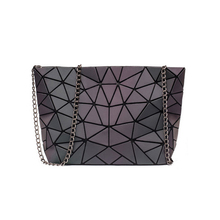 Crossbody bags for women 2019 fashion foldable messenger bags with retro famale shoulder bag female geometric bag luminous color color splicing geometric pattern metal crossbody bag