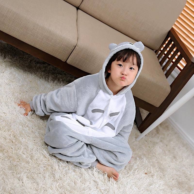 Flannel Totoro Cartoon Children One-piece Pajama Men And Women Animal Long Sleeve Thick Tracksuit