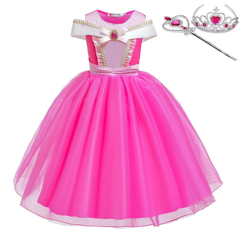 Princess Little Girls Cosplay Summer Flower Dresses Girl's Snow Queen Dress Clothing Baby Kids Beauty Princess Clothes Customes 1