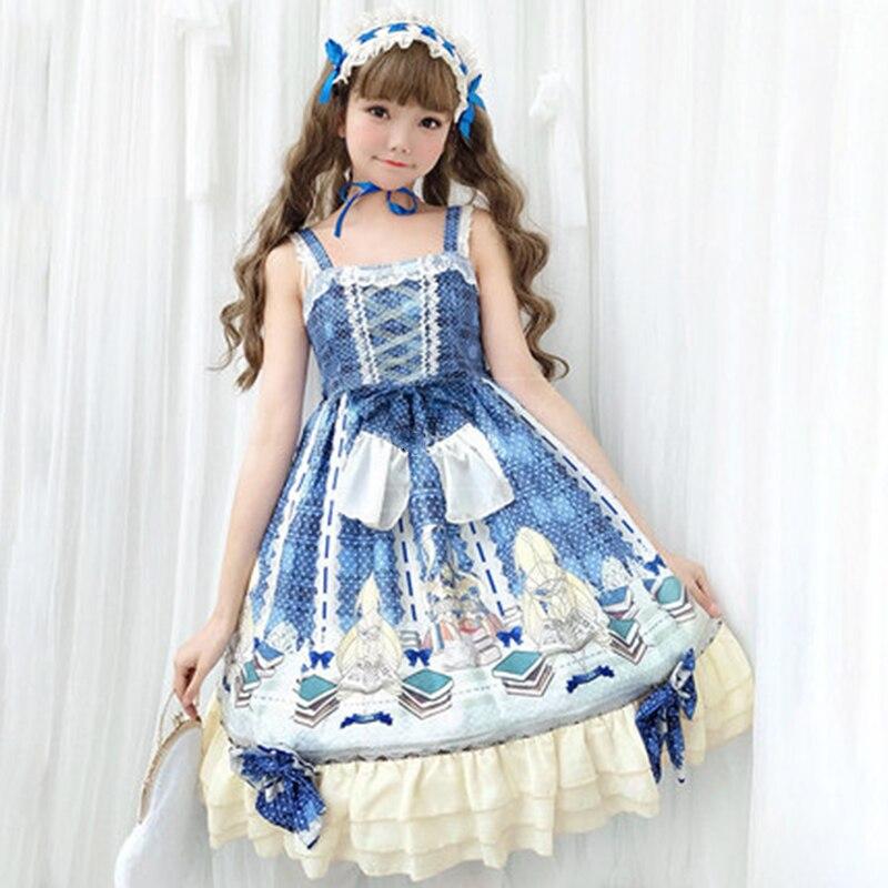 Lolita robe Court rétro à volants Jsk robe à imprimé fronde robe de princesse