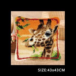 Image 3 - חי פרא כרית וו תפס ערכת כרית מחצלת DIY קרפט פרח 42CM 42CM צלב סטיץ רקמה סורגת כרית רקמה